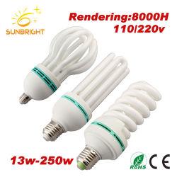 La mitad Lámpara de ahorro de energía en espiral con materia prima CFL