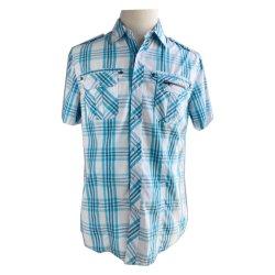 OEM Herren Baumwolle Karierte Reißverschluss Tasche gewebte Shirts, Casual Wear