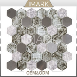 Cristal hexagonal mezcla de metal pulido de mosaicos de azulejos de pared