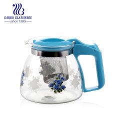 プラスチックハンドル(GB1135-2-YH4)が付いているカスタマイズされたデザイン印刷のガラス茶鍋