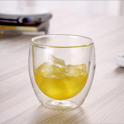 二重壁の小さいクリアビールウイスキーグラスカップグラスウェア