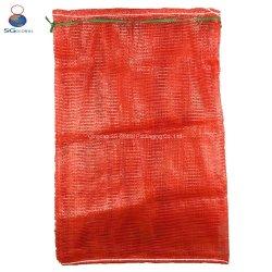 SGS CE FDA Durable cebolla tomate patatas frutas vegetales mariscos leña de embalaje de plástico envases de PP Drawstring Leno Tubular Net bolsa de malla