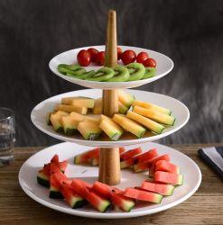 3 Ceramische Dienblad van de Noot van het Dessert van de Snack van de Cake van de Platen van de laag het Dienende Elegante