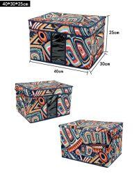 Impresión multifunción cubierto de tela plegable Organizador de la caja de almacenamiento de ropa calzado