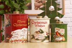 Weihnachtsrunder Metallzinn-Kasten