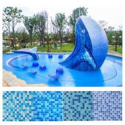 Mix de azul de mosaicos de vidro Piscina Wall Mosaicos de vidro
