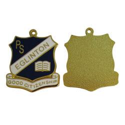 Haut de bijoux en argent poli personnalisés colliers plaqués or 18K la gravure de logo Lasering charme Poignée de commande (charme-08)