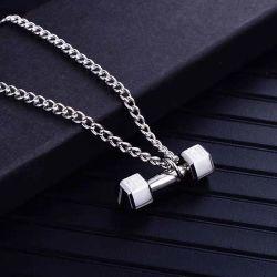 Acero inoxidable el levantamiento de pesas Barbell colgante, collar de Gimnasio de Musculación pesa de moda collar Esg14272