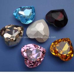 Pujiang prix d'usine et sans plomb Handmade facettes cristal Heart-Shaped Fancy Pierre avec griffe pour accessoires de bijoux en métal