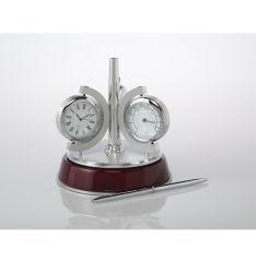 Personifizierter Rosenholz-Taktgeber, Thermometer mit Feder-Schreibtisch-Set