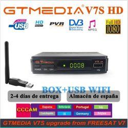 Gtmedia DVB-S2 V7s HD descodificador de satélite 1080P DVB-S2 Gt Media V7s HD incluem WiFi USB H. 265 Caixa de TV Powered by V7 Controle Remoto
