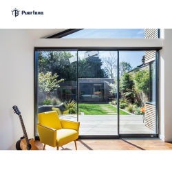 Huracán exterior exterior panorámica horizontal de la prueba de apilamiento de puerta corrediza de aluminio con persianas gas argón cristal aislante entre