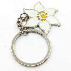 Металлические конструкции моды пользовательского логотипа форму цветка мягкой эмали высокой польского серебра не MOQ наилучшее качество цепочке для ключей
