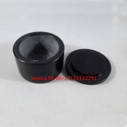 Bonbonnes en marbre/Stone bibelot boîtes/boîtes de marbre /conteneur de marbre Jar/Forme cylindrique en marbre noir Pierre Canister Pot de rangement avec couvercle