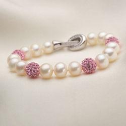 7/8mm Perles de culture d'eau douce naturelle avec des cristaux Bracelet bijoux (E150030)
