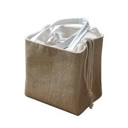 مدرسة [هوفي-قوليتي] قطن درج إغلاق حراريّ حقيبة حقيبة صندوق مانع للتسرب كيس مبرد الغداء المبطنة برقائق الألومنيوم مع جلد البولي يورثان (PU) المقابض