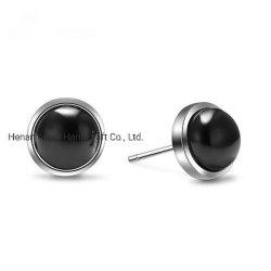 Мода черный пластмассовый валик клея ухо контакт очаровательного 925 Серебряные серьги