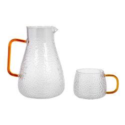 مجموعة إبريق ماء ذات زجاج مبطّن بمرماز عالي الإزرار - كوب 12 أونصة ونظارة شرب 0.5 غالون