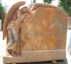 切り分ける墓地の彫刻(TM008A)のための大理石の花こう岩の墓地の彫像のスリープの状態である天使の記念物を