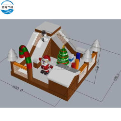 卸し売り新しい到着6.6X6X3.8mの膨脹可能なクリスマスのサンタの弾力がある城