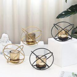Venda por grosso Luxurioustabletop Vidro do Visor suporte para velas com rack de metal para decoração