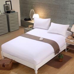 Couleur blanche lit simple 100% Polyester monté feuille plate ensembles (JRD152)