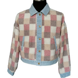 سترة أنيقة ذات تصميم جديد مع زنبرك ملابس طويلة جراب أزرق كوات مساعد على شكل فوكس من اللون الوردي