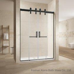 Bagno in acciaio inox con vetro temperato da 10 mm in bypass nero opaco Box doccia scorrevole L05142
