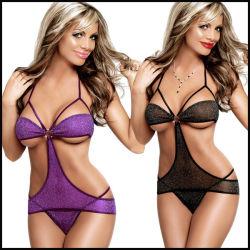 Venda quente europeu e americano de lingerie sexy transparente Lace Três ponto da corda fato de uma peça de roupa