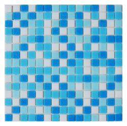 Mosaico di vetro spiaggia Mixed bianca blu di colore della fabbrica della piccola per la decorazione della parete del raggruppamento