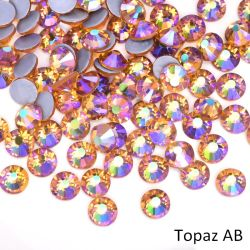 SS16 SS20 glitter Crystal Hotfix Rhinestones 1440PCS/Pack Crystal Topaz AB Strass hot fix per abito da sposa