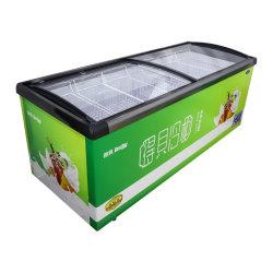 市販のスライドガラストップアイスクリームディスプレイキャビネットスーパーマーケットキッチン 設備の灯油ホテルの小型冷蔵庫のクーラーバッチディープ冷蔵庫の冷凍庫