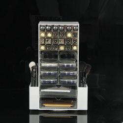 Habitáculo personalizado de metacrilato de maquillaje de acrílico de almacenamiento y organizador de escritorio con cajones y bolsillo para cosméticos Cepillo de cejas pintalabios /// Blush/Paleta de maquillaje
