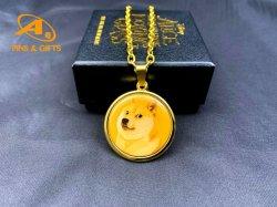 2021 بيع ساخن الذهب فضة فضة فضة وجه يسوع سحر الدلاية الدينية Doge Coin My Lucky Coin سلسلة عقد قلادة