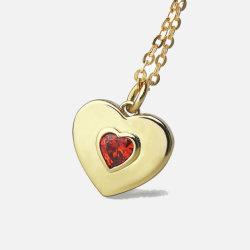 Kerstmis Gift 9K Gold Natural Garnet hart Shape Gold ketting Fijne sieraden