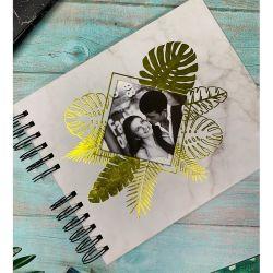 22cmx18cm Casamento Personalizado Livro de Hóspedes com ouro estampagem, Scrapbook álbum de fotos