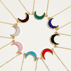 Charm Good Plated Chain Wتمنى كارد النساء بوتيك ريسن كريسنت بيان قلادة القمر مجوهرات عقد