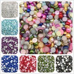 Factotry Direct Großhandel über 50 Farben 3mm-12mm Kunststoff flache Rückseite Perlen Lose Halb Geschnitten Künstliche Perlen Perlen
