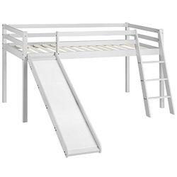 Estrutura da cama cabina da criança com o Slide & Escada Cal Natural Branca Finish Beliche para crianças