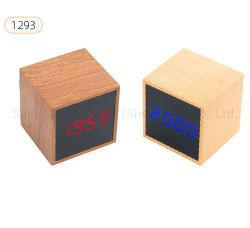 Conduit de temps/température/bureau en bois d'affichage de date et l'horloge de table