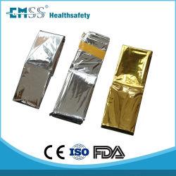 Oro/Plata VMPET exterior de aluminio de emergencia una manta de supervivencia
