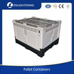 HDPE 헤비듀티 솔리드 대형 대량 스택형 폐쇄 산업 4 도로 출입 플라스틱 팔레트 상자 컨테이너