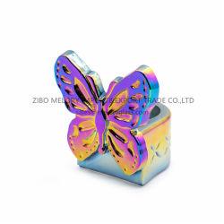 Vidro em forma de borboleta Tea-Light suporte para velas com cor metálica