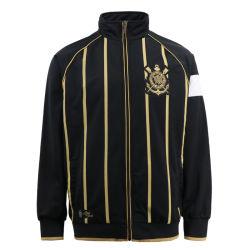 通りの摩耗の堀の爆撃機のスポーツの金の縞プリント新しいコートデザイン人の黒いスポーツ・ウェアのための流行の冬の方法CorinthiansのパッチワークのParkaのジッパーのジャケット