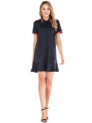 2021 ファッションラペル半袖ポロシャツスリムウィメンズスポーツウェア T シャツラッフルドレス