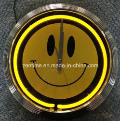 Indicatore luminoso al neon all'ingrosso orologio della decorazione della parete da 15 pollici