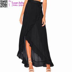 女性の印刷された側面は薄く軽くて柔らかいマキシのスカートL575を切り開いた