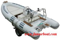 Barca gonfiabile rigida Profonda-v della nervatura del guscio FRP della vetroresina di Funsor per pesca ed il salvataggio 4.8m