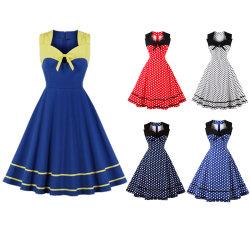 المرأة في S الأنيق 50s 60s Vintage V-Neck Polka DOT كوكتيل سوينغ غير رسمي اللباس