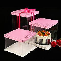 conteneur clair en plastique de empaquetage de gâteau de mariage d'anniversaire de cadre de catégorie comestible (conteneur d'animal familier)